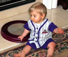 Sam in baseball uniform April 2001